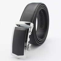 Men's 100% Genuine Leather Cheap Mens Belt Top Quality Belt Cinturon Black Buckle Belts pk487-T0