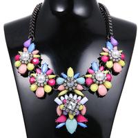 Free Shipping Statement Chunky Flower Necklace Fashion Women Choker Bib Collar Necklace & Pendant