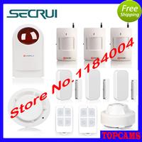 Kerui home security alarm Wireless Strobe Siren+smoke sensor+remote controller+Door Sensor+PIR Detector+Ceiling infrareddetector
