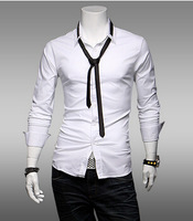New 2014 Autumn And Winter Men long-sleeved Shirts Fashion Casual Slim Men Pure Casual Shirts Free Shipping Promotion