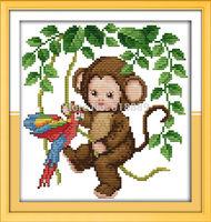 11CT 14CT Baby Monkey Patterns Counted Cross Stitch DIY DMC Cross Stitch Sets Embroidery Kits Wall Home Decor Needlework