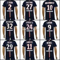 Ibrahimovic Soccer Jersey Cavani Football Shirt&Shorts 14-15 Lavezzi lucas T.silva Soccer Uniforms,embroidery logo