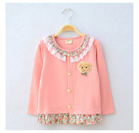 Free Shipping Girl Coats Jackets Children Outerwear 2014 New Kid Girl Coat Baby Lace Round Neck Long-sleeved Cardigan Coat