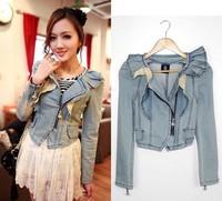 2014 spring new Korean women denim jacket fashion casual denim jacket lovely round neck short dress coats