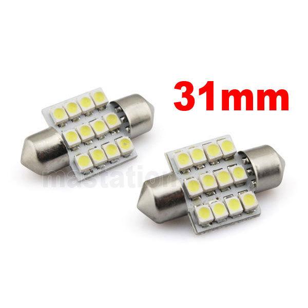10pcs/lot DC 12V 12 LED 31mm SMD Car Interior Festoon Reading Light Lamp Bulb White 12V UK B(China (Mainland))