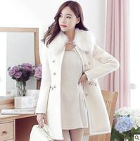 2015 Autumn Winter Fashion Women's Woolen Overcoat Artificial Rabbit Hair Fox Fur Slim Fur Coat Luxury Fur Jacket for Sale A095