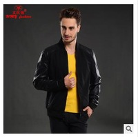 2014 autumn Men's new brand stand collar short outdoor Jacket Fashion Slim Fit Motorcycle PU Leather jackets M-XXL size cyp74