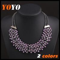 2014 New Fashion Brand Luxury Amethyst Imitated Gemstone Multilayer Short Necklaces Female Choker Necklace For Women Gift