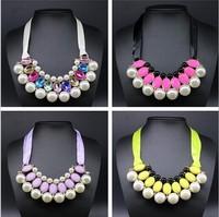 Free shipping 2014  Pendants Waterdrop Resin pearls statement necklace women jewelry
