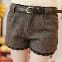 Plus Size 3XL 2014 Autumn Winter Korean Hot Short Pant Shorts Warm Woolen Blend Shorts Bootcuts With Belt For Women Girl 394918