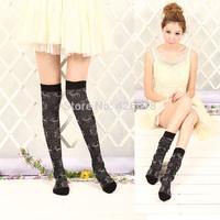 Cotton Women's Girl's Autumn Winter snowflake deer pattern Over Knee High Socks