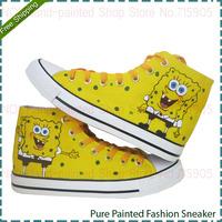 SpongeBob SquarePants Pattern Men's Brands Sneakers Hand Painted Men Four Seasons Canvas Tide Shoes High Lace-Up Casual Footwear