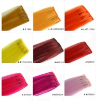 New Arrival 30 colors 10 pcs /Bag synthetic hair extension Colorful Clip On In Hair Extension Hightlight
