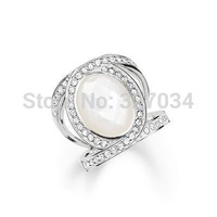 wholesale women gift price hot selling hot ring tms silver factory price TSR077 white stone
