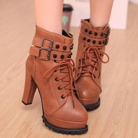2014 New Winter Leather Ankle Boots Women High Heels Lace Up Martin Boots Fashion Antumn Thick High-heeled Boots Botas Femininas