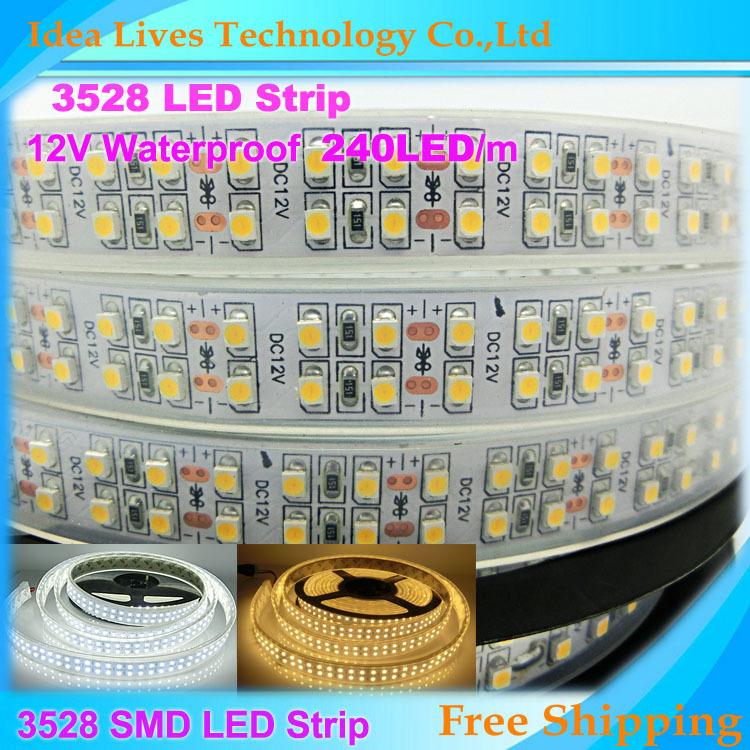 IP65 waterproof SMD 3528 LED Strip 12V flexible light 240LEDs/m,1200LED/5m,white,warm white,5m/Lot(China (Mainland))