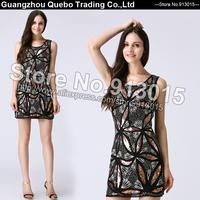 2015 Summer Fashion Women Slim Sexy Elegant Sequin Flower Sleeveless Tank Dresses Blingling Beaded Party Club Wear Black QBD108