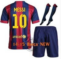 Free Shipping14-15 FC football Jersey with patch #10 MESSI the full set Football Jersey including shirt ,shorts and match socks