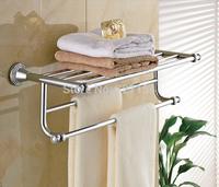 Free Shipping! New Chrome Brass Bathroom Towel Shelf Wall Mounted Storage Holder Dual Towel Bar