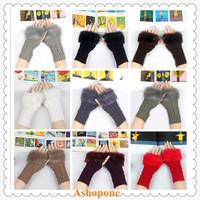 10xWholesale New Women Knitted Fingerless Wrist Hand Warmer Faux Rabbit Fur Warm Gloves Mittens 10 Colors