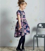 High End 2014 autumn girl print dress brand children princess floral dress,designer kids dobby dress girls' floral dresses,2-14Y
