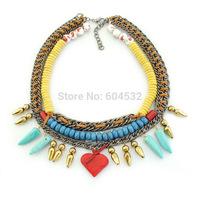 Amazing Wholesale Ethnic Autumn Jewelry Vintage Bronze Chunky Chain Hot Heart Layers Beads Choker Bib Necklace