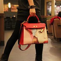 2014 Classic Designer Beautiful Women Print Shoulder Bag Ladies Faux Leather Tote Handbag D0008