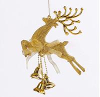 2014 hot sale !! papai noel 10pcs/lot golden christmas deer bell tree decoration for Xmas party wedding decor