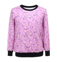 2014 Adventure Time New Women Sweatshirt Digital Printed Loose Sweaters Pullover Hoodies