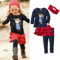 Children's Clothing Set Baby Girl's Kerchief + Long Sleeve T-shirt+Skirts+Pants 4pcs Kids Clothes Sets Girls Clothing Sets Suit