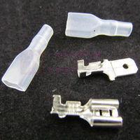 free shipping 400pcs 4.8mm Crimp Terminal Female Spade Connector + Male Spade Connector+ Case