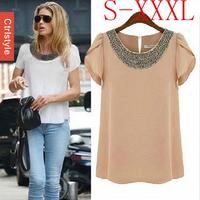 Wholesale/Retail Ctrlstyle Big Size Bead Chiffon Casual Blouse Short Sleeve Blusas Fashion Women Blouse Dropship