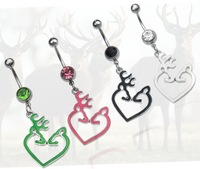 Browning Deer Belly Button Navel Rings NABEL RING 316L  Stainess Steel PIERCING Body Piercing