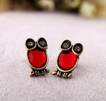 2014 новое поступление старинные уникальный красный драгоценный камень сова шпилька серьги с бриллиантами женские серьги E392