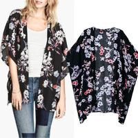 New 2014 Autumn European Retro Kimono Cardigan brand Ladies Jacket Tops floral Print Women Shawl Chiffon loose batwing outwear