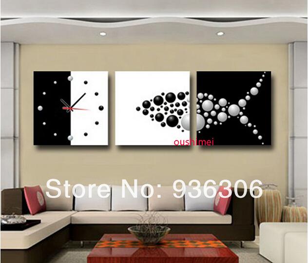 Cuadros pintados a mano abstracta Clock Pictures en la lona pintura ...