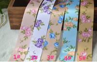 Free shipping wholesale 100 yard/Lot polyester ribbon 25mm print retro ribbon roses