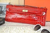 High-quality (1:1) 31CM alligator Shiny bag (H-handbags) French Women's Evening bag 100% Genuine leather Gold hardware