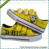 SpongeBob SquarePants Fashion Baby Canvas Shoe Hand Painted Velcro Infant Toddler Shoes Babies Unisex Casual Travel Sneakers