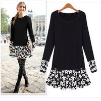 2014 Autumn Desigual Women Dress cute Plus Size Fashion Fall Dresses Girls Vestido De Festa flower printed Dress XXXL    #C0929
