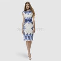 Free Shipping NEW European&American style locate 2014 sleeveless summer dress blue and white printing Slim elegant ladies dress