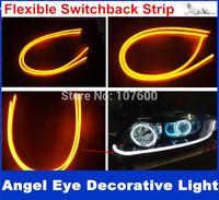 2PCS/pair 30cm White+Yellow Flexible Headlight Daytime Lamp Switchback Strip Angel Eye DRL Decorative Light With Turn Signal