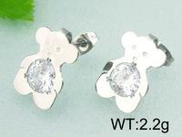 exquisite titanium steel Teddy Bear rhinestone earrings fashion jewelry titanium steel Bear earrings