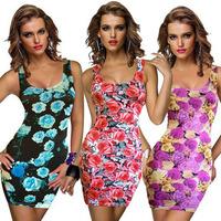 Scolour Fashion Women Lady Floral Vest BodyCon Evening Sexy Party Mini Dress Freeshipping