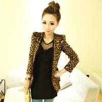2014 Vintage Autumn Winter Women Plus Large Size Leopard Jacket Slim One Button Blazer Shoulder Pad Suede Outwear 9591