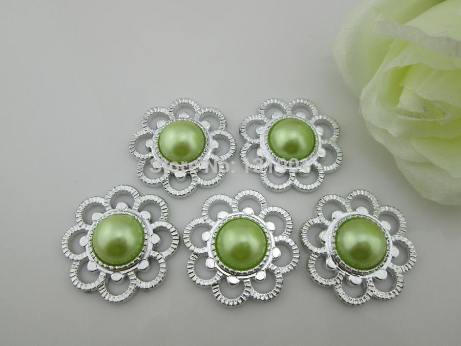(FL480) 20Pcs fashion light green pearl rhinestone shoe buckle ,rhinestone buckles, ribbon slider(China (Mainland))