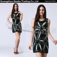 2015 Club Party Dress Fashion Women Slim Elegant Sexy Green Sequin Flower Beading Short Vestidos Female Dresses Black QBD203