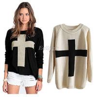 New Womens Cross Long sleeved Pattern Knit Sweater Outerwear Crew Pullover Top Black Beige
