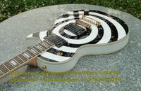 Black White Circle Pattern Mahogany Top Side Back Rosewood Fingerboard Gold Hardware H-H 2 Pickups Electric Guitar No.0019-22