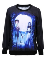 2014 New Fashion Women Pullover Hoodies Sweatshirt Digital Printed Loose CORPSE BRIDE Halloween Sweaters